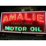 """Old Amalie Motor Oil Tin Sign with Neon 72"""" x 34"""" - SSTN"""