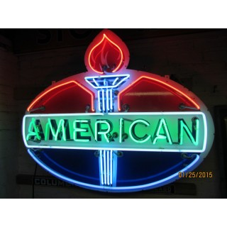 """New American Porcelain Neon Sign - 48""""W x 40""""H"""