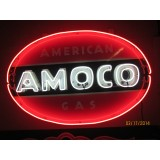 """Old Amoco Porcelain Sign with Neon 59"""" wide x 39"""" high"""