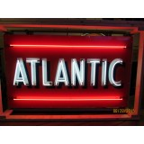 "Old Atlantic Gas Porcelain Sign with Neon 72""x42"" - SSPN"