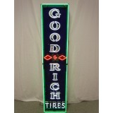 """Old Goodrich Tires Porcelain Sign with Neon - 78""""H x 18""""W"""