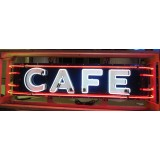 "New CAFE Neon Sign with Wrap-Around Bullnose Neon 77""x18 1/2"" - SSN"