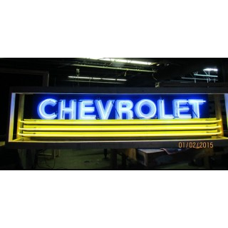 """New Chevrolet Strip Sign w/Bullnose Ends 9 Feet Wide x 32"""" High"""