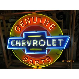 "New Chevrolet Genuine Parts Painted Enamel Neon Sign 42"" Diameter"
