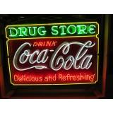 "Old Coca-Cola Drug Store Porcelain Sign with Neon 60""x46"" - SSPN"