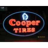 """Old """"Cooper Tires"""" Painted Sign w/Neon 48""""W x 30""""H"""