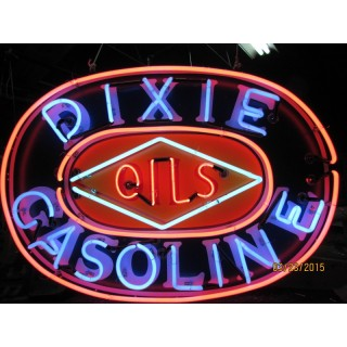 "New Dixie Gasoline Oils Painted Enamel Metal Neon Sign 60""W x 42""H"