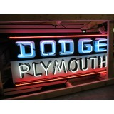 "New Dodge/Plymouth Double-Sided Painted Sign with Bullnose & Neon 72""W x 40""H"