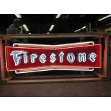 "New Firestone Metal Bowtie Sign with Neon 72"" Wide x 24"" High - SSN"