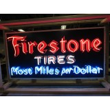 "New Firestone Miles Neon Sign  60""W x 30""H - SSN"