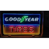 """Old Goodyear Tires Enamel Sign with Neon 58""""W x 34""""H - SSTN"""