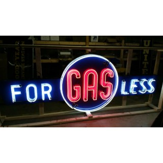 "New ""GAS FOR LESS"" Animated Painted Enamel Neon Sign 12 Ft W x 4 Ft H"
