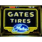 """Old Gates Tires Sign with Neon 52""""x38"""" - SSN"""