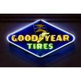 """Old Goodyear Tires Porcelain Neon Sign 6 FT W x 39 Inches H & 8 FT W x 52""""H"""