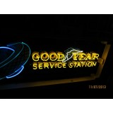 """Old Goodyear Service Station Porcelain Sign with neon 72""""W x 24"""" H - SSPN"""