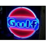 "Old Gulf Porcelain Sign with Neon 72"" Diameter - SSPN"