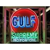 "New Gulf Supreme Motor Oil Tombstone Neon Sign  30""W x 36""H"