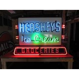 "Old ""Hersheys Ice Cream - Groceries"" Double-Sided - 4 Color Neon Sign 58""Wx39""H"