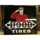 "1920's-30's Hood Tires Double-Sided Porcelain Sign 36""W x 32""H"