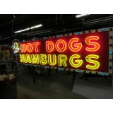 "New ""10 Inch Hotdogs / Hamburgs"" Animated Neon Sign - 10 Feet Wide x 42"" High"