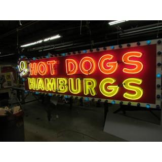 "New ""10 Inch Hotdogs / Hamburgs"" Animated Neon Sign - 10 Feet Wide x 42"" High"