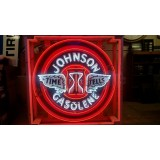 "New Single Sided Johnson Gasolene Neon Sign - 48"" Diameter - SSN"