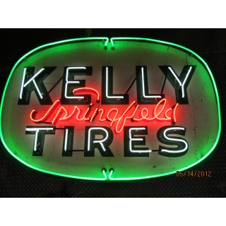 original kelly springfield tires sign w new neon 72 w x 48 h. Black Bedroom Furniture Sets. Home Design Ideas