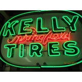 """Old """"Kelly Springfield Tires"""" Sign with Neon - SSPN 60"""" x 41"""""""