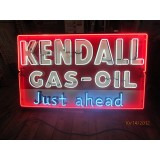 "New ""Kendall Gas-Oil Just Ahead"" Painted Enamel Metal Neon Sign 6 Ft. W x 42"" H."