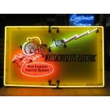 "Old Mass. Electric Reddy Kilowatt Porcelain Sign with Neon 48""W x 30""H - SSPN"