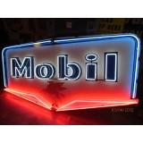 "Old Mobil Sign with Neon 81""x 51"" - SSPN"