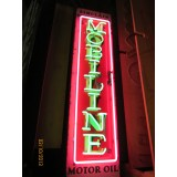 "New Sinclair Mobiline Motor Oil Vertical Neon Sign 60""H x 15""W"