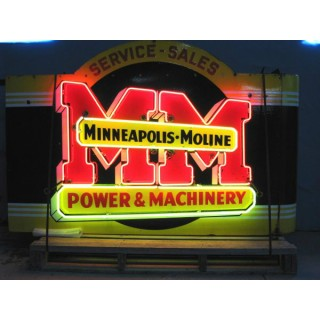 """New """"Minneapolis Moline"""" Double-Sided Neon Sign 60""""W x 42""""H"""