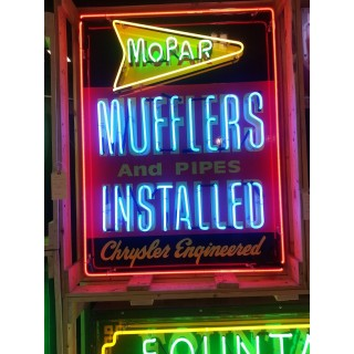 """Mopar Mufflers & Pipes Installed Painted Neon Sign 36""""W x 42""""H"""