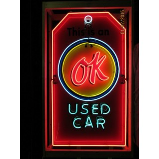 """New Chevrolet OK Used Cars Keytag Neon Sign 6 FT x 40"""""""