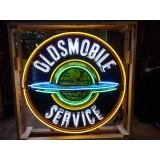 """Old Oldsmobile Service """"The World"""" Porcelain Sign with Neon - 60"""" Diameter SSPN"""