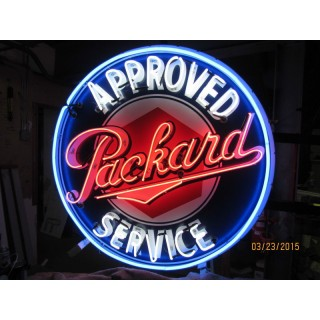 "New Double-Sided Packard Approved Service Neon Sign 48"" Diameter"