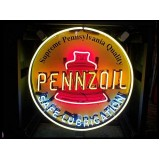 "Old Pennzoil Porcelain Sign with Neon 30"" Diameter - SSPN"
