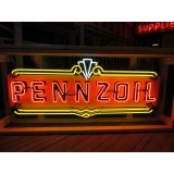 """New Pennzoil Painted Metal Sign with Neon 72"""" W x 28"""" H - SSN"""