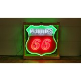 Old Phillips 66 Red/White Porcelain Sign with Neon 6 FT