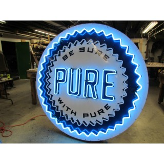 Old Pure Oil Porcelain Sign with Neon - 6 Ft. Diameter - SSPN