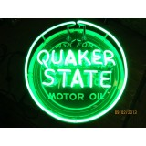 "Old Quaker State Motor Oil Sign with Neon 24"" Diameter - SSTN."