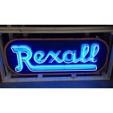 """Old Rexall Porcelain Sign with Neon 84"""" x 36"""" - SSPN"""