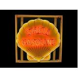 "New Shell Gasoline Painted Enamel Neon Sign - 48"" Diameter"