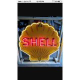 """Old Shell Gasoline Porcelain Sign with Neon 48"""" x 48"""" - SSPN"""