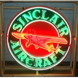 "New Sinclair Aircraft Enamel Metal Neon Sign 48"" Diameter - 100% Made in America"