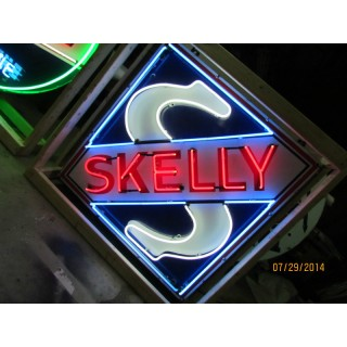 "Old Skelly Gas Porcelain Sign with Neon - 66"" x 66"""