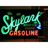 "New Skylark Gasoline Painted Metal Sign with Neon 66"" Wide x 42"" High - SSN"