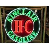 "Old 72"" Diameter Sinclair Gasoline HC Porcelain Neon Sign w/Assembly Photos"