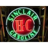 "Old Sinclair HC Gasoline Porcelain 48"" Round Neon Sign"